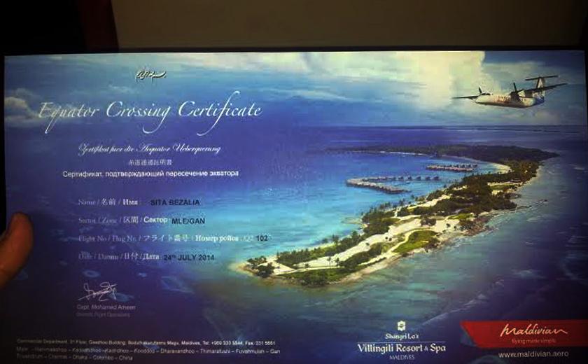 Equator Crossing Certificate