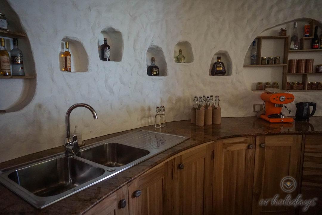 The kitchen inside the Villa at Soneva Fushi